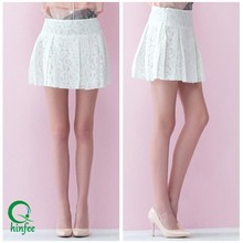 SK020 Fashion Women Clothes Pleating Short White Lace Skirt