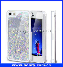 Bling Sparkle Glitter Heart Dynamic Liquid Quicksand Cell Phone hard Case for iPhone 5