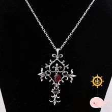 s>>>> Vintage Style Vampire Diaries Red Sacred Heart Memorial/ Cross Pendant Necklace/