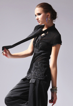 Fashionable Creative Special Price Black Polyester Short Sleeves lace fashion design women wear