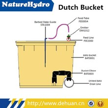 Agricultural Dutch bucket with highly effective internal discharge system