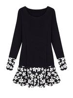 Fashion Splicing Flower Lap Long Sleeve Plus Size Ladies Tunic Women Dress