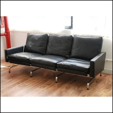 Poul Kjaerholm Modern leisure chair & 3 seater leather sofa with stainless steel stainless steel leather sofa