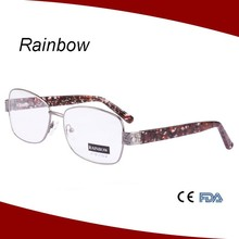 2015 new fashion design wine glasses for Women metal optical frame silver color with spring hinge CE FDA
