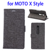 Top quality Linen Texture leather back shell for Moto X Style case