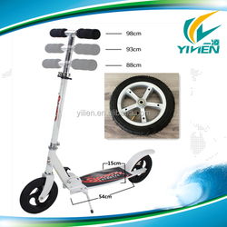 white adult kick scooter with two Aluminium alloy inflatable wheels, folding adult kick scooter