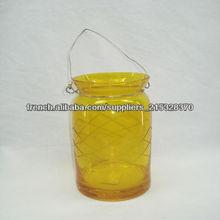 Hanging verre jaune photophore lanterne