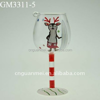 hand painted lucky deer glassware for home decoration