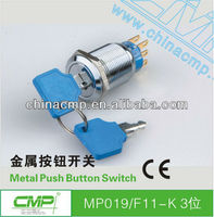 19mm CMP waterproof ip40 stainless steel 1NO 1NC or 2NO 2NC key reset switch ip67
