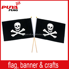 custom polyester printing 30x45cm pirate hand flag,promotion hand held waving flag for Halloween