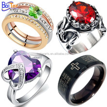 Wholesale new design ladies men's finger ring tungsten carbide single stone ring designs crystal ring for men with ruby