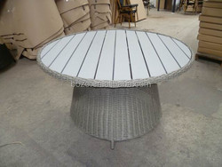 Luxury Wicker Patio Dining Table with plastic wooden top