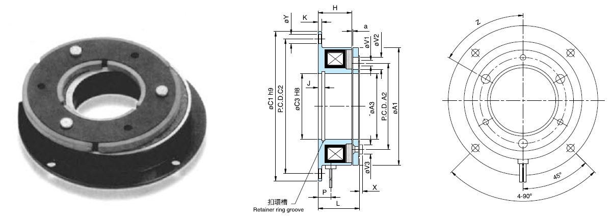 Torque ajustável 24 v Freios Eletromagnéticos Fail safe