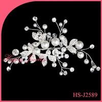 100% handmade Wedding Flower Crystal Rhinestone Hair Clip Comb Pin Silver Plated