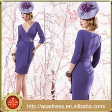 VL132 Charming Short Purple Formal Dress For Wedding V Neck 3/4 Sleeve Mother of Bride Dresses 2015