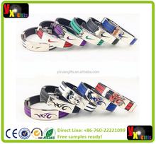 2015 New Fashion Street Basketball pulseira Sports Wristband Silicone Bracelet Men Custom Wholesale Titanium Stainless Steel