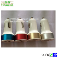 Color circle Round 5V 2.1A Dual USB Car Charger For Cell Phone Tablet Colored 2 Port USB Car Adapter