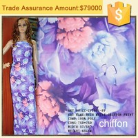 75D polyester chiffon fabric manufacturer zhejiang shaoxing textile wholesale flower printed 100 polyester fabric