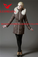 fur hoodie mid length middle-aged women goose down jacket