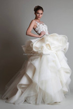 (MY20140821A) Marry You New Collection Custom Made Sleeveless Ruffle Skirt Krikor Jabotian Wedding Dress 2015