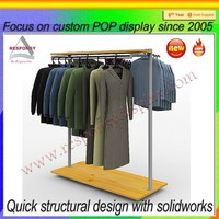 Powder Coating Metal Clothing Display Rack For Exclusive Shops