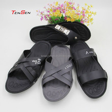 male slipper 2015 new arrival flat indoor outdoor beach footwear with PU leather upper