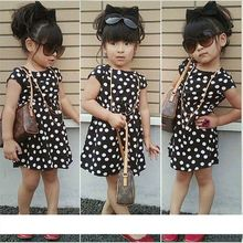 Fashion Sweet Dot Short Sleeve O-neck girls dress polka dots With Necklace SV019833