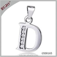 "2015 best big Alphabet ""D"" sale 925 sterling silver Alphabet ""D"" pendant for girls"