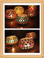 7*10cm cloloful round ball shape seashell handmade glass mosaic candle holder for home decoration