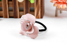 Newest design pink flower elastic rubber band for ponytail