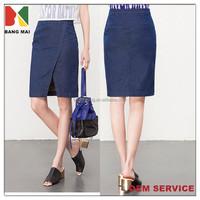 hot sale fashion knee length denim skirt for girls front slit denim skirt for ladies