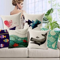 Ocean Fish Seashell Printed wholesale Cushion Covers For Home decor