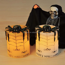 Halloween Decor Black&White Wax Flickering Amber LED Candle With Embossed Spider