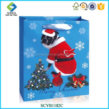 Wholesale New Products Promotional Christmas Decorative Dogs Patterns Paper Bag