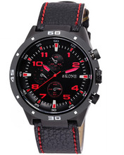 SKONE 9064 Red Word Black Dial Top Brand Leather FOB Watch