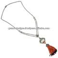 Piedra de ágata grano de diamante collar de lazo, blanco tallado de piedras preciosas de jade collar de diseño, de oro