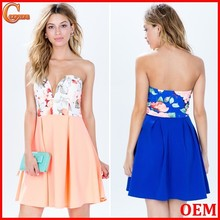 Partially lined strapless floral print night dress garments