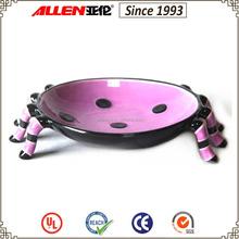 "6.5"" w unique spider shape ceramic plate, purple black dots ceramic plate, Halloween ceramic plate"