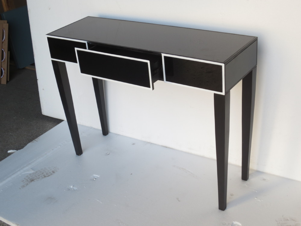 Black mirrored desk console table 3 drawer buy 3 drawer for Mirrored console with drawers