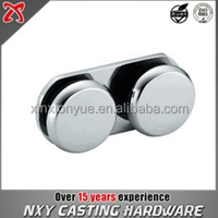 Double side Round head glass partition brace /Glass 180 degree glass mounting bracket