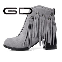 China manufaturer suede tassels women ankle bootie
