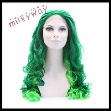 milkyway new style layered dark green to light green beautiful body wave 22inch synthetic lace front wig