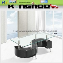 MDF black high gloss wood s shape glass coffee table with stools