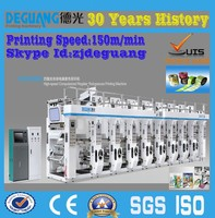 6 color Auto register polythene plastic film bag printing machine