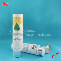 150ml plastic toothpaste tube container with glossy silver flip top cap