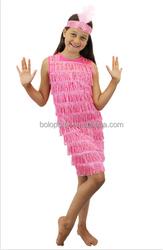 2015 wholesale Child fancy dress Pink Fringed Flapper Dress