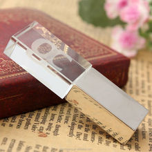 8GB USB 2.0 Crystal Transparent & Blue LED Flash Memory Stick Pen Drive