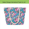 Fashion floral printing girls canvas beach bag with rope handle