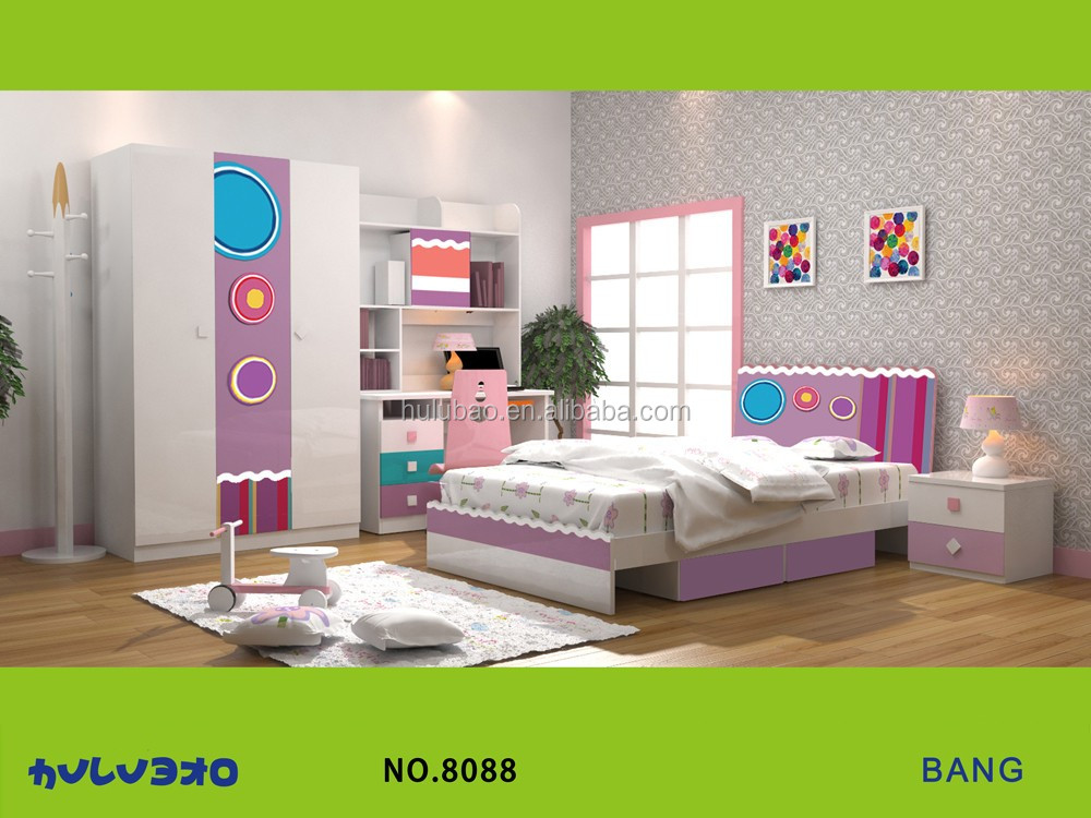Little Girl Bedroom Furniture Set,Colorful Wardrobe,Bed, Nightstand,Book  Case And Study Desk.