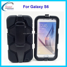 New product heavy duty shockproof case for Samsung galaxy S6,hybrid combo case for Samsung galaxy S6 with clip belt